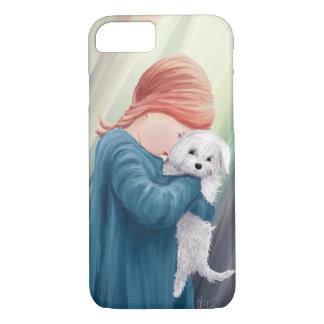 Menina bonito com cão capa iPhone 7