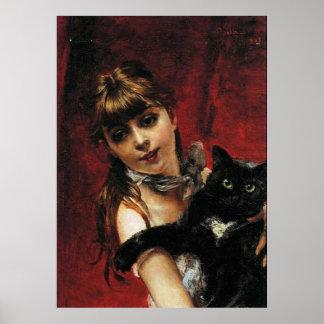 Menina com gato preto - poster da arte da reproduç