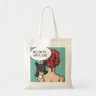 Menina com o bolsa rude da ilustração do gato