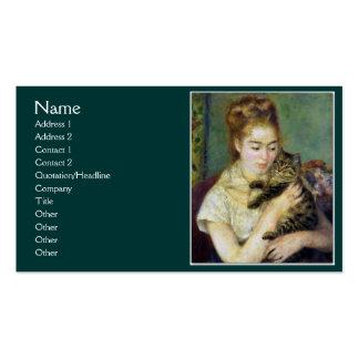 Menina com o gato por Renoir Modelo De Cartões De Visita