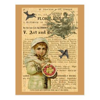 Menina com os rosas cor-de-rosa e amarelos cartão postal