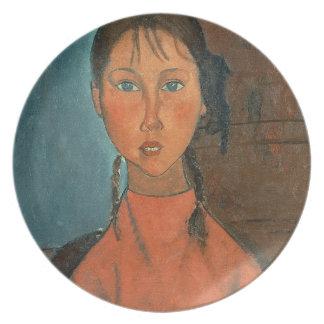 Menina com tranças, c.1918 (óleo em canvas) prato de festa