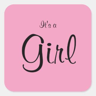 Menina cor-de-rosa personalizada adesivo quadrado