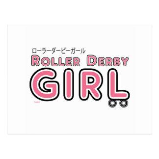 Menina de Derby do rolo Cartão Postal