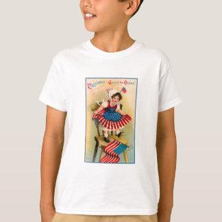Menina de Dia da Independência do vintage T-shirts