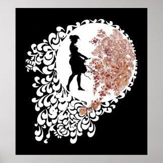 Menina decorativa branca e cor-de-rosa preta da poster