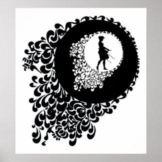 Menina decorativa preto e branco da silhueta poster