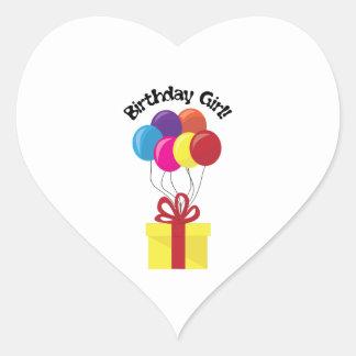 Menina do aniversário! adesivo coração