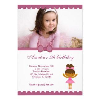 Menina do aniversário da bailarina convite personalizados