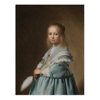 Menina do cartão no verspronck azul cartão postal