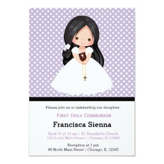 Menina do comunhão santamente * escolha a cor do convite 12.7 x 17.78cm