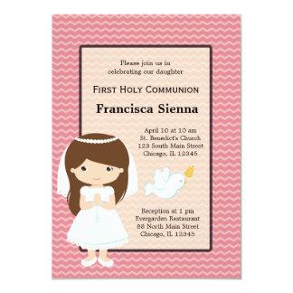 Menina do comunhão santamente * escolha sua cor do convite 12.7 x 17.78cm