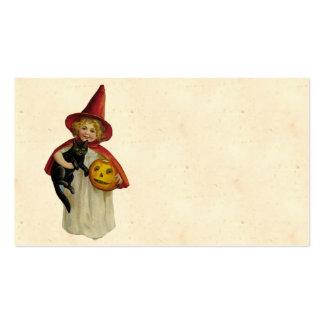 Menina do Dia das Bruxas do vintage Cartão De Visita