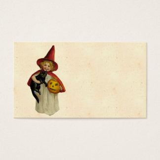 Menina do Dia das Bruxas do vintage Cartão De Visitas