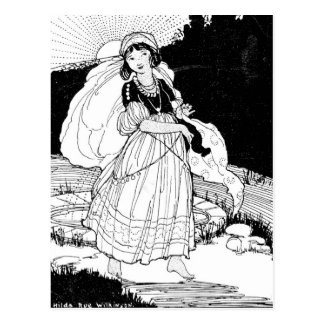 Menina do doce 16 que anda fora na natureza cartoes postais