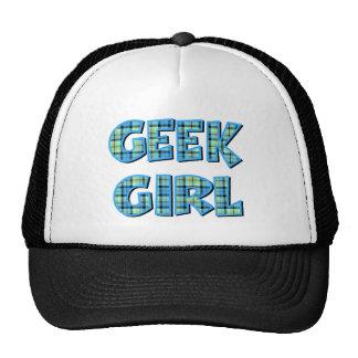 Menina do geek da xadrez azul e verde boné