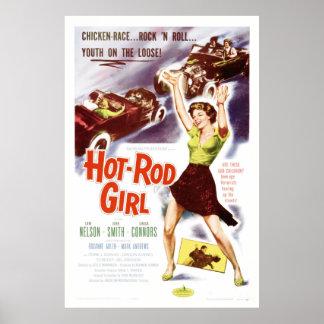 Menina do hot rod - cartaz cinematográfico do 50 d poster