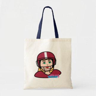 Menina do jogador de futebol bolsas para compras