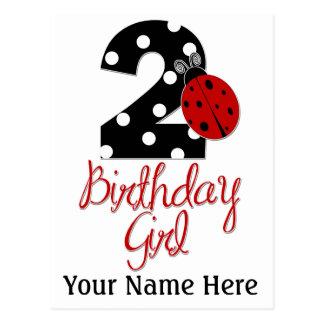Menina do segundo aniversário - joaninha - 2 cartão postal