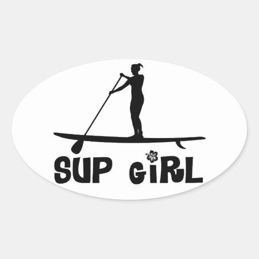 Menina do SUP Adesivos Em Formato Oval