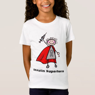 Menina do super-herói da insulina do diabetes t-shirts