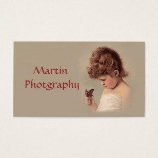 Menina do vintage cartão de visitas