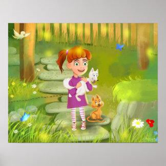 menina dos desenhos animados e o poster engraçado