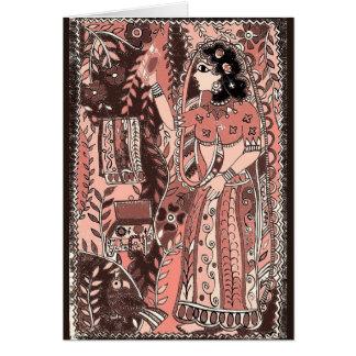 Menina em cartões festivos do rosa