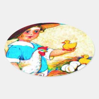 Menina em um chapéu flexível com choque de adesivo oval