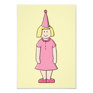 Menina em um partido de aniversário convite 8.89 x 12.7cm