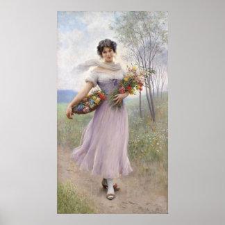 Menina em um vestido Lilac-Colorido - poster