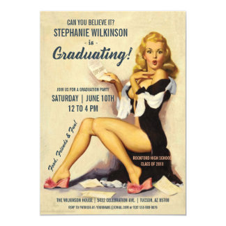 Menina engraçada do Pin-Acima do vintage dos Convite 12.7 X 17.78cm