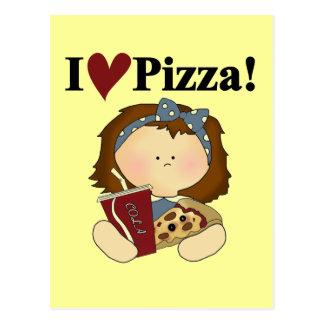 Menina eu amo o camiseta e os presentes da pizza cartão postal