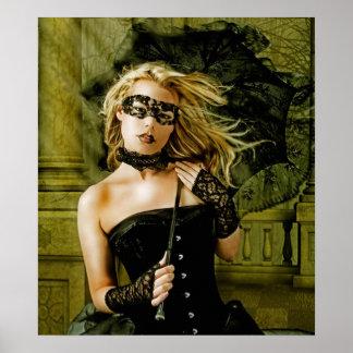 Menina loura do mascarada com belas artes do guard poster
