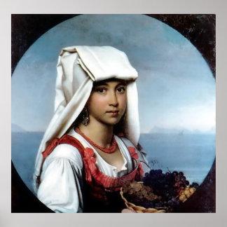 Menina napolitana com as frutas - poster da arte