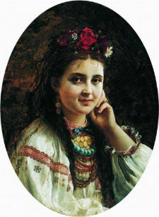 ad496d63fc4 Menina ucraniana na caneca de Constantin Makovsky