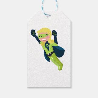 Menina verde do super-herói etiqueta para presente
