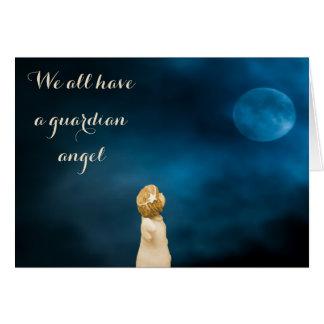 Meninas do anjo-da-guarda que olham uma Lua cheia Cartão De Nota