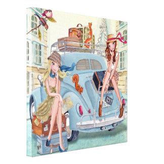 Meninas do viagem em Paris - canvas