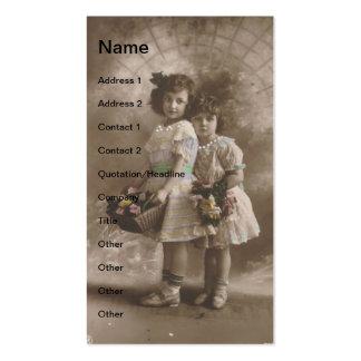 meninas do vintage modelos cartões de visitas