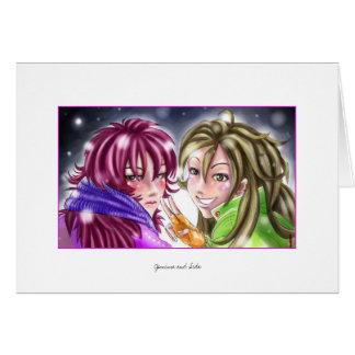 Meninas no cartão da neve