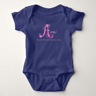 Meninas nome de Ava & roupa do bebê da letra A do T-shirts