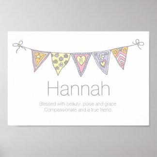 Meninas nome de Hannah e poster da estamenha do Pôster
