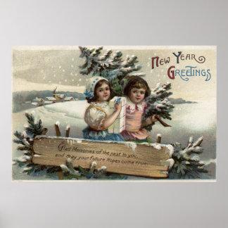 Meninas que guardaram um presente e uma árvore poster