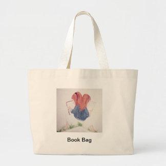 meninas que lêem a sacola bolsa de lona