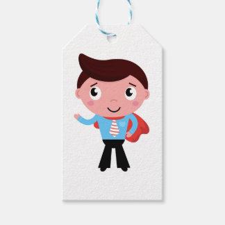Menino/azul bonitos pequenos do super-herói etiqueta para presente