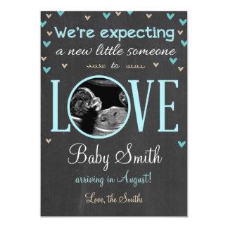 Menino azul do ultra-som do anúncio da gravidez do convite 12.7 x 17.78cm