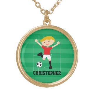 Menino customizável 1 do futebol vermelho e branco colar com pendente redondo