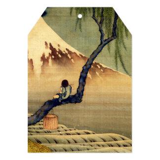 Menino de Hokusai que vê o vintage do japonês de Convite