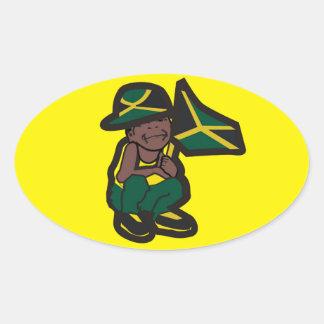 MENINO DE JAMAICA ADESIVO OVAL